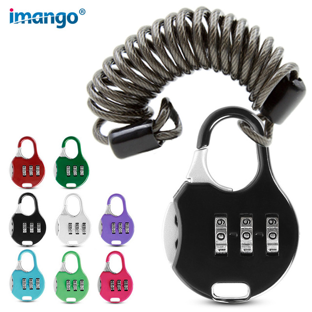 3 Digit Combination Padlock Luggage Small Codes Lock with Alloy Body for Travel Bag Suit Case, Gym Lockers Bike Locks Match Rope