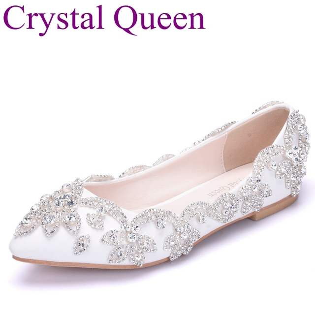 Crystal Queen White Silver Rhinestone Flats Wedding Shoes Pointed