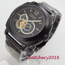 цена New 44mm PARNIS Black Dial PVD Coated Mechanical Watches relogio masculino Gift Sapphire Glass Miyota Automatic men's Watch онлайн в 2017 году