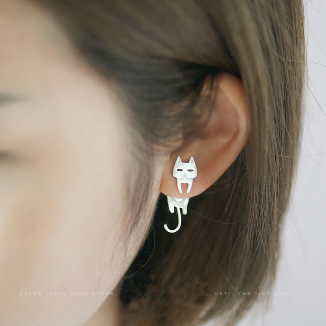 Cat and fish silver earring