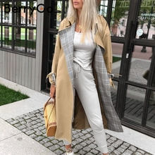 BerryGo Turn down collar women trench coat Vintage sashes pl