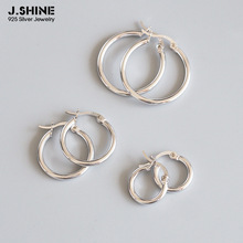 JShine 100% S925 Sterling Silver Simple Geometric Hollow Round Hoop Earrings Three Sizes Circle for Women Accessories