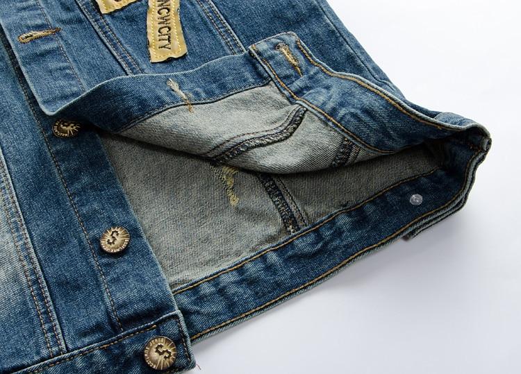 Denim Jeans Väst Mäns Brev Broderi Man Jeans Vickhål Tvättad - Herrkläder - Foto 5