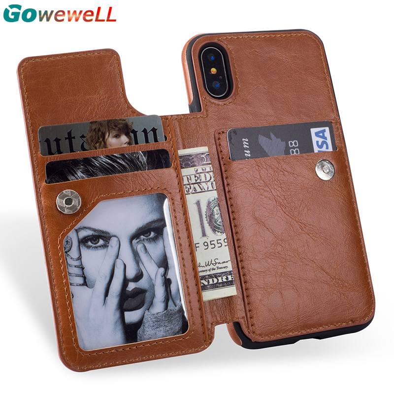 GOWEWELL Flip Leather Case for iPhone X Card Slot Stand Zipper Wallet Case for iPhone 6 6s 7 8 Plus Cover for Samsung S8 s9 Plus
