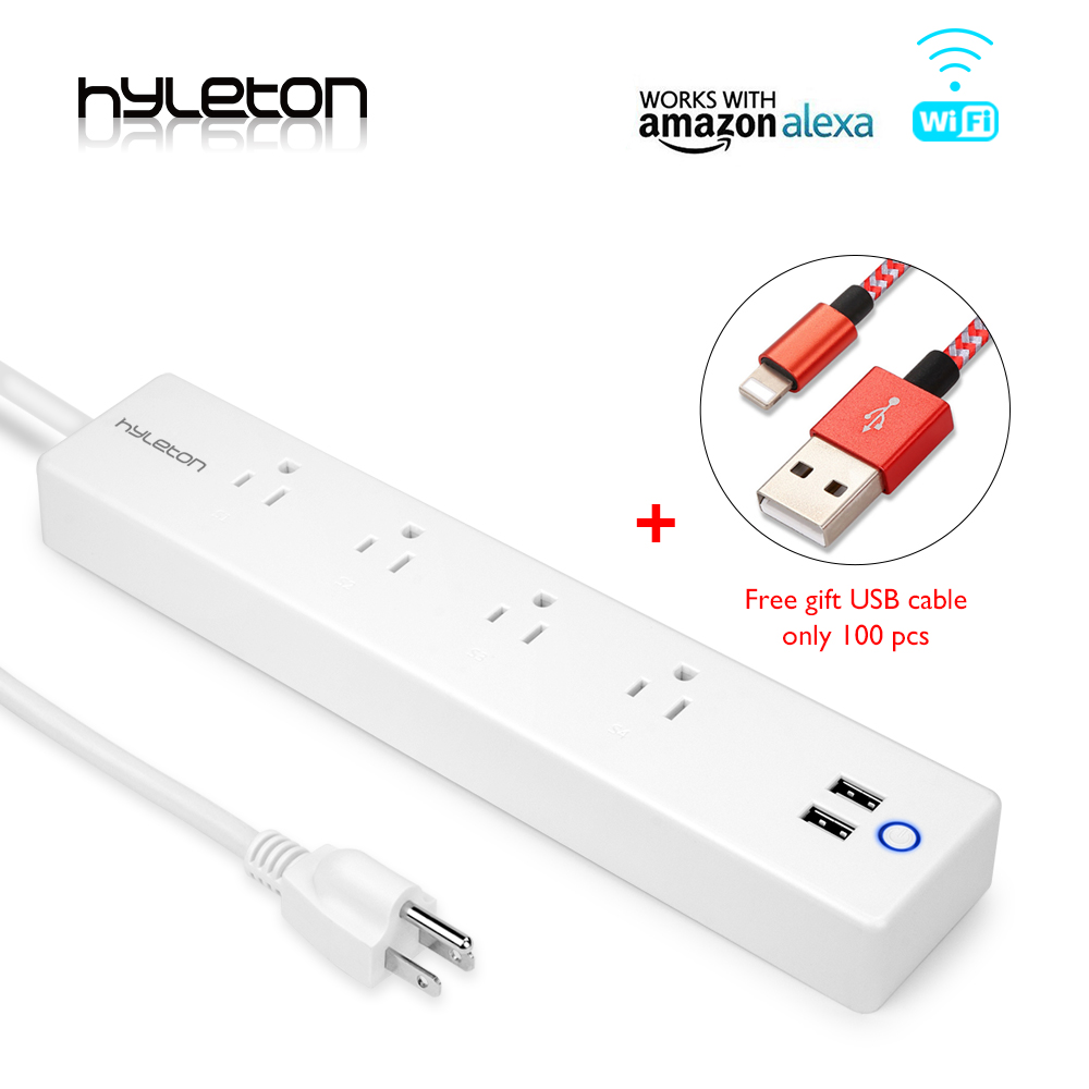 Hyleton wifi USB Power Strip smart US plug Overload Switch Surge Protector 4 Outlet 2 Port USB Charger 2m 15A wifi socket