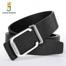 FAJARINA 2017 Quality Unique Design Fashion Pure Cowhide Genuine Straps Leather Novelty Slide Buckle Metal Belts for Men LUFJ592