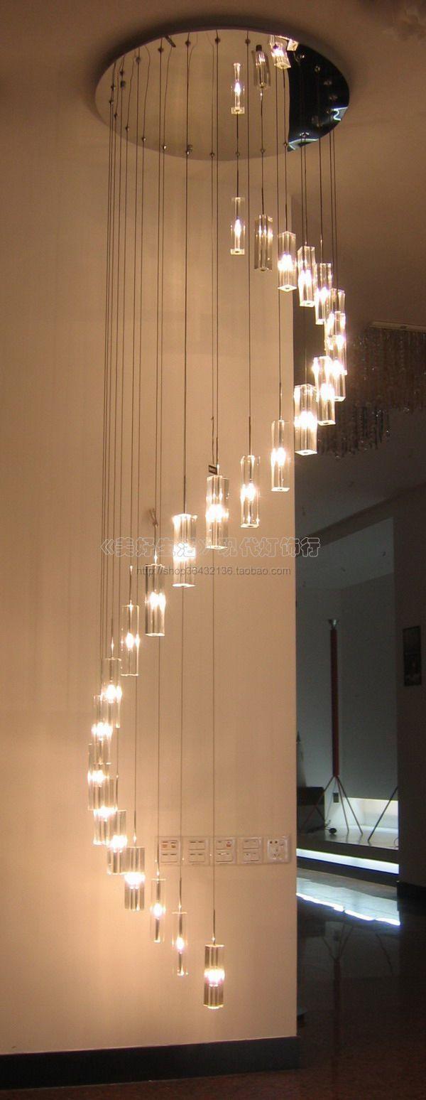 Современный кристалл лампы бесщелевой низкое напряжение хрустальный кулон свет Гостиная огни лестницы лампы спираль лампы