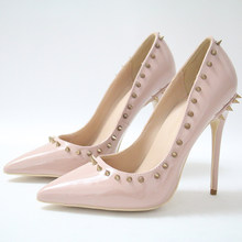 Eunice Choo Nude Rivet Pumps High Heels Lady High Quality Party Shoes  Patent Leather Sexy Pointed Toe Wedding Pumps Women Shoes 977aa5acb17d