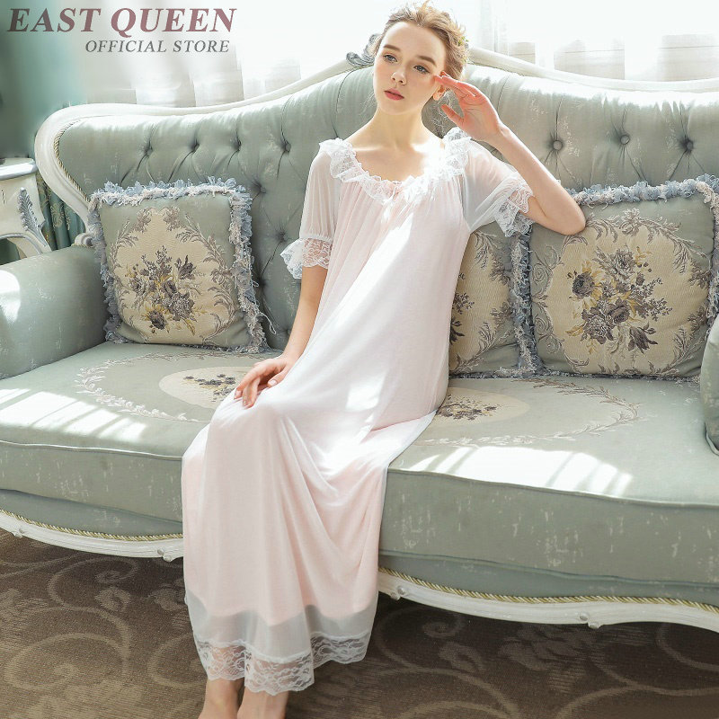Bathrobe for adults new arrival hot sale lace smooth   nightgown   &   sleepshirts   casual   Nightgowns   clothes for women AA3670 Y A