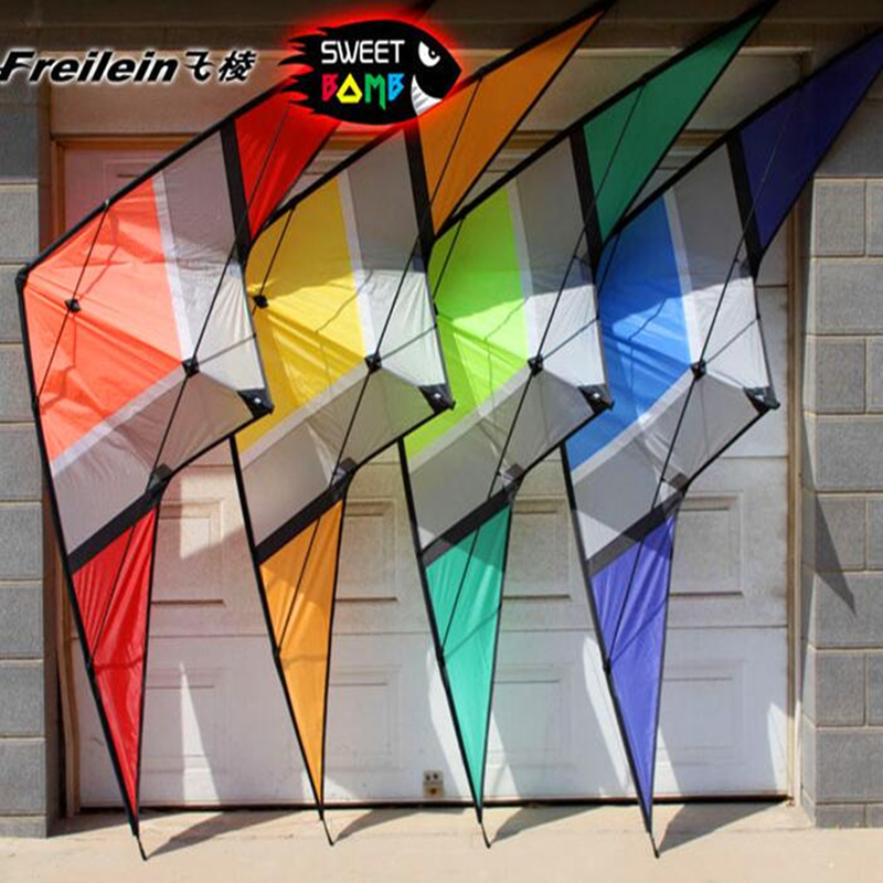 free shipping high quality 2.2m dual line stunt kite surf sweet bomb handle line outdoor sports toys flying freilein factory 2 5m huge dual line control soft frameless stunt parafoil flying kite plaid cloth made with 2 line board and 2 x 40m line