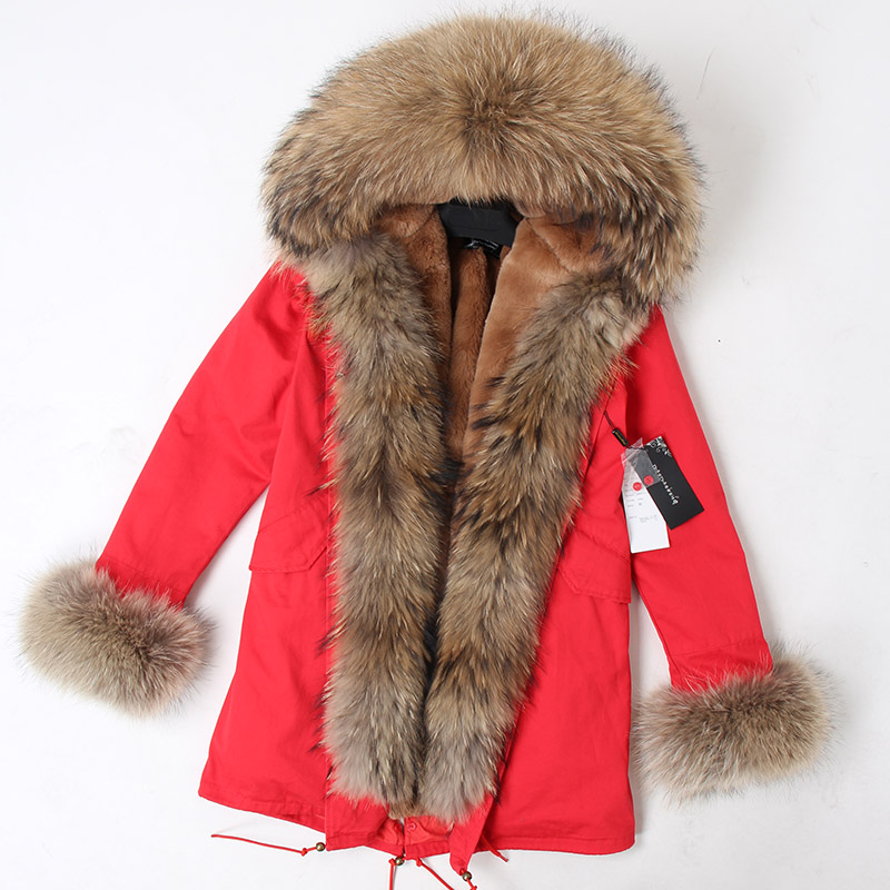 Image 5 - abrigos mujer invierno 2018 mini True Fur Parka women winter  Hooded jacket coat Parkas faux fur coat Lining jacket long coatParkas