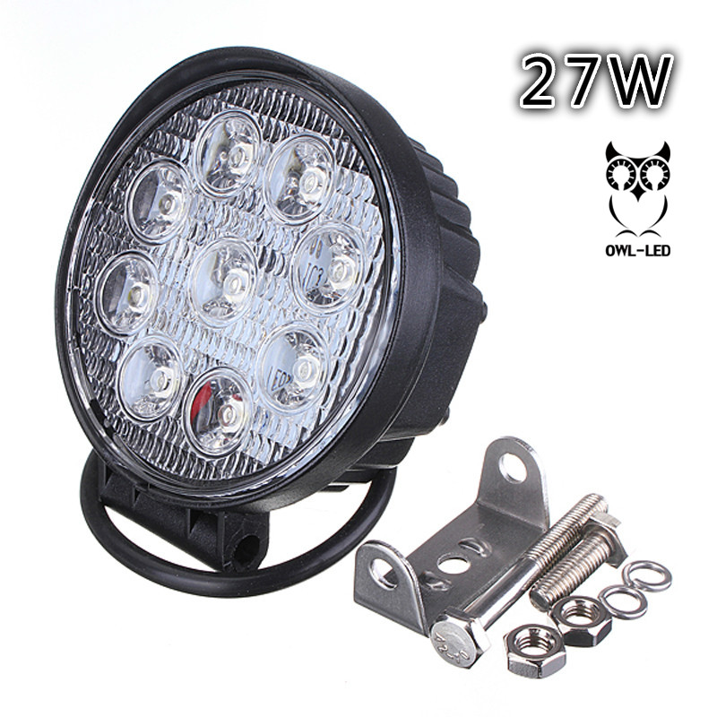 FREE SHIPPING 4 27W round led work light bar 27W led work lamp SPOT FLOOD Beam for 4x4 offroad tractor ATV SUV CAR 1pc 4d led light bar car styling 27w offroad spot flood combo beam 24v driving work lamp for truck suv atv 4x4 4wd round square