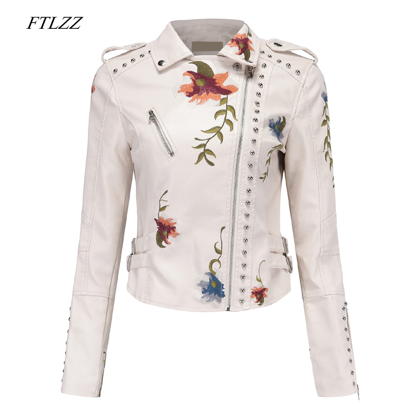 FTLZZ Floral Print Embroidery Women Pu Leather Jacket Turn down Collar Faux Soft Leather Motorcycle Black