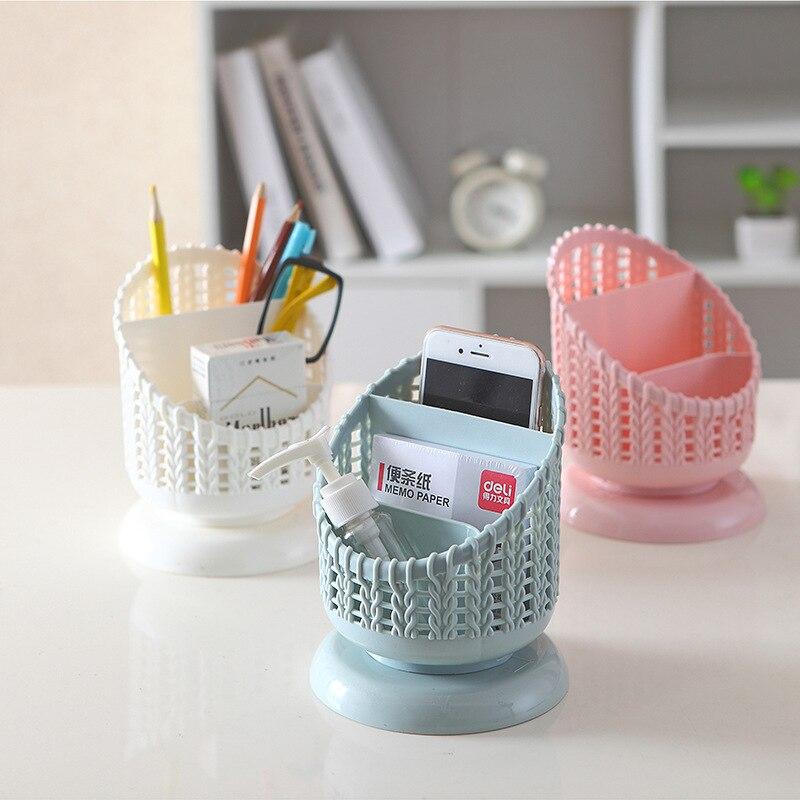 Pen Holder Office Supply Organizer Stationery Storage  Pink Office Supplies Desk Accessories Organiser Plastic Pen Storage Box