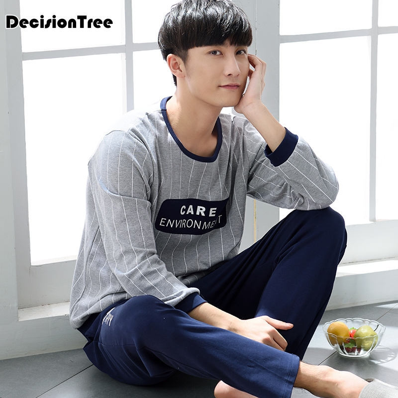 2020 Men's Pajamas Long Sleeve Home Wear Cotton Plaid Pyjamas Men Lounge Pajama Sets Plus Sleepwear Sets