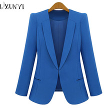 New Spring 2019 Women Blazers plus size fashion female slim blazer Ol Candy Color suit jacket ladies office coat Maxi Size S-4xl