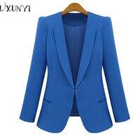 New Spring 2019 Women Blazers plus size fashion female slim blazer Ol Candy Color suit jacket ladies office coat Maxi Size S 4xl