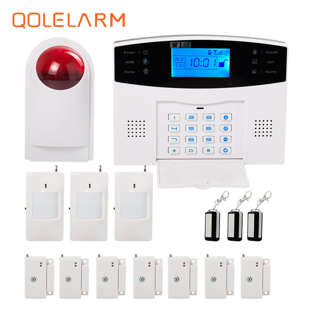 433MHz Wireless Russian/Portugue/Germany Voice SMS Call GSM Alarm Systems Security Home Outdoor Wireless Siren infrared sensor wireless service call bell system popular in restaurant ce passed 433 92mhz full equipment watch pager 1 watch 7 call button