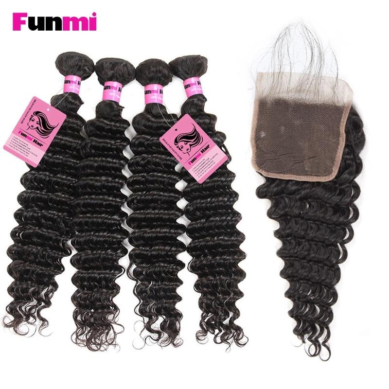 100% QualitäT Funmi 4 StÜcke Malaysian Tiefe Welle Bundles Mit Verschluss Haar Bundles Mit Verschluss 100% Reines Menschliches Haar Für Salon