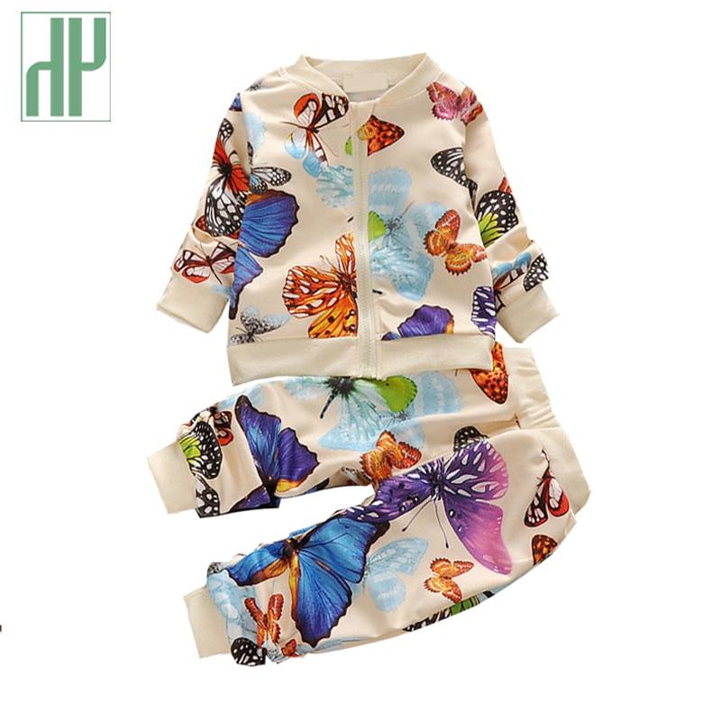 HH Fall Baby meisje kleding tweedelige set kinderkleding set peuter meisje Kleurrijke vlinder pak kinderen lange mouw kleding pak