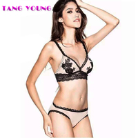 TANG YOUNG 2017 Summer Female Lingerie Sexy Lace Bras Gather Push Up Women Underwear Bra Set