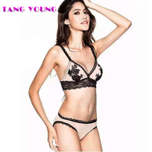 TANG YOUNG 2017 New Arrival Sexy Lace Bra Briefs Set Luxury Embroidery Ultra Thin Woman Bra Set Sexy Gauze Woman Underwear Set