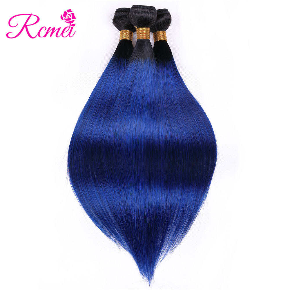 Pre Colored Hair Weave Ombre Brazilian Straight Human Hair T1B/Blue Dyed Bundles Weaving 3 Bundle Deal Two Tone Dark Roots Rcmei