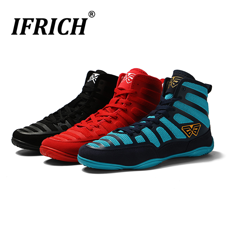 New Men Professional Boxing Wrestling Shoes Rubber Outsole Breathable Combat Sneakers Lace-up Training Fighting Boots image