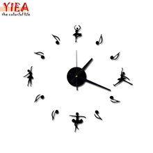 New 3D Music Notes When Combined Flying High end Diy Ballet Creative Clock Background Wall Clock