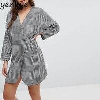 Kadınlar Wrap Balıksırtı Elbise Rahat Uzun Kollu Çapraz V Boyun Kimono Ile Kemer Sonbahar Elbise Mini Seksi robe YD8409