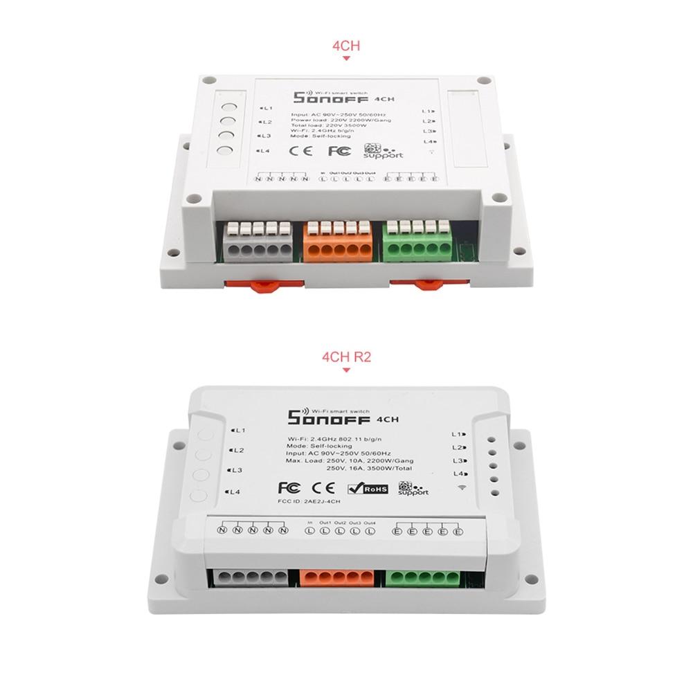 Itead Sonoff 4CH Pro R2 433 MHZ Gang RF sans fil à distance Wifi commutateur intelligent de montage contrôle sans fil Sonof 4 canaux