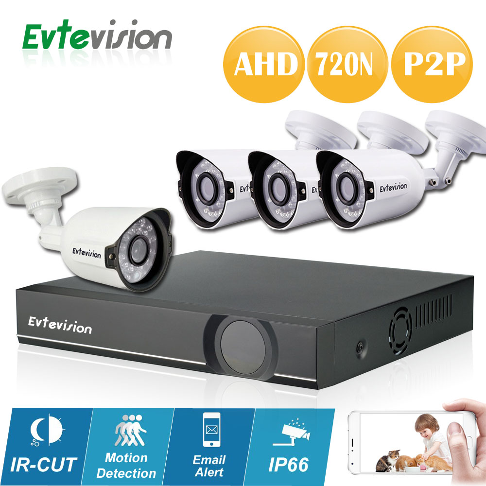 Evtevision 4CH 1MP HD AHD CCTV Camera 720P 24 Leds Day Night Vision Outdoor/Indoor Security Camera System Home Surveillance Kit  free shipping evtevision 720p 2 8 12mm vari focal lens ahd camera indoor plastic dome 15m night vision cctv security camera