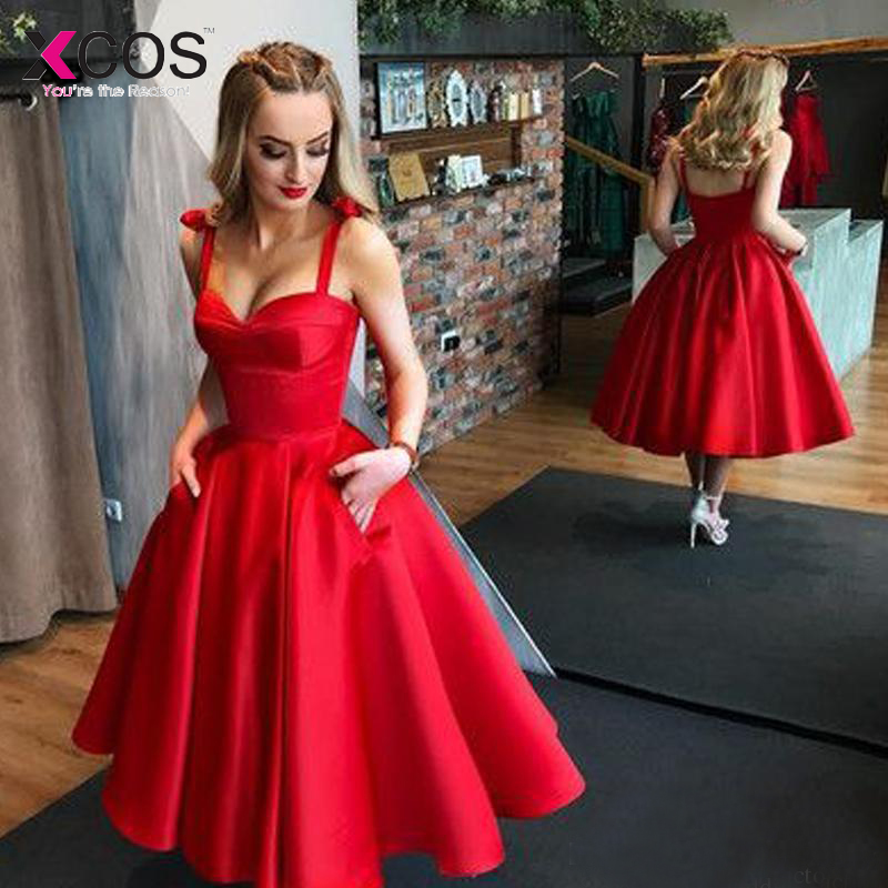 Cheap Vintage Tea Length   Prom     Dresses   2019 Spaghetti Straps Sweerheart With Pockets Red Satin Party Gowns Custom Made
