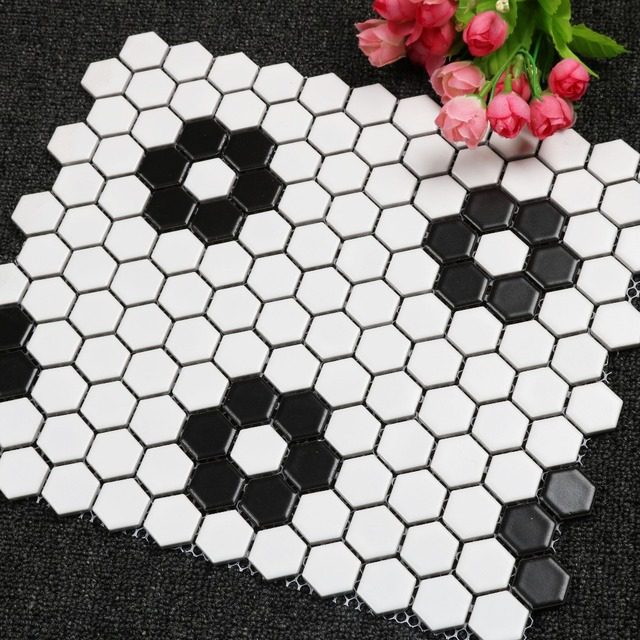 23mm Matt Black White Hexagonal Ceramic Mosaic Tile Kitchen Backsplash Swimming Pool Bathroom Floor Tiles Wall