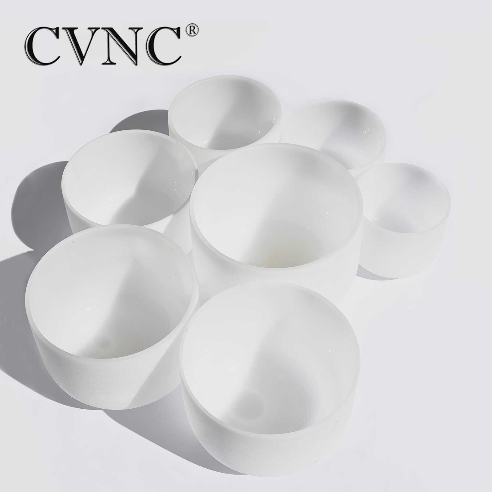 """CVNC チャクラのチャクラチューンセットボウル 7 個 8 """"-14"""" 注 C D E F グラム B つや消し 432 hz の水晶歌ボウル"""