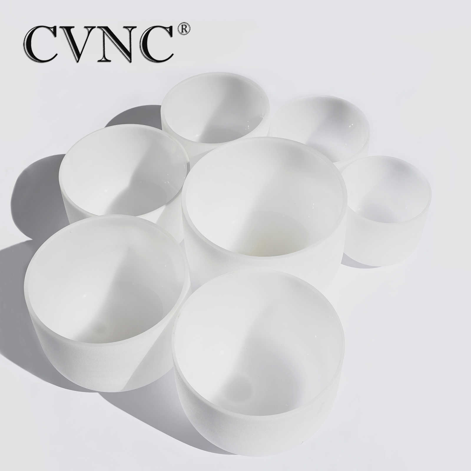 "CVNC Chakra настроенный Набор из 7 шт. 8 ""-14"" Note C D E F G A B матовый кварц 432 Гц кристалл поющая чаша"