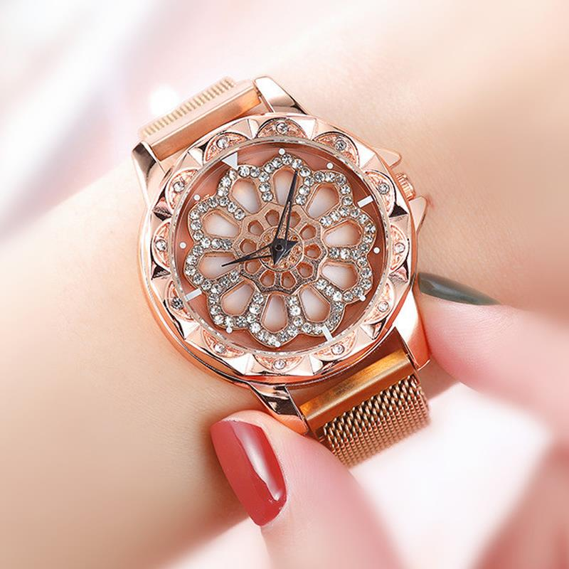 New Lucky Women Bracelet Watches Luxury Rose Gold Rotating Dial Quartz Clock Fashion Magnetic Wristwatches relogio feminino 2019