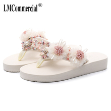 national students slippers female summer fashion seaside flowers flip-flops beach shoes luxury women designers