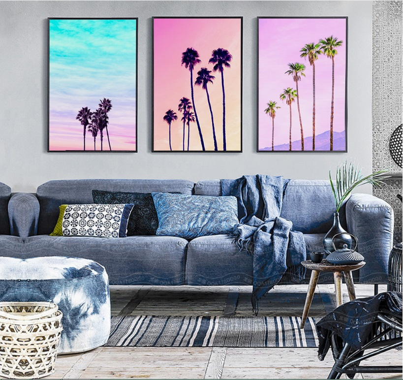 Nordic Colored Coconut Tree Landscape 3 Pieces Modular Pictures Wall Art Canvas Painting Poster for Living Room