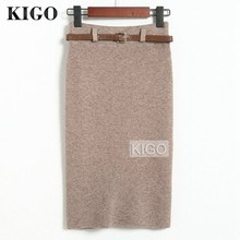 KIGO Winter Woman Knitted Skirt High Waist Knee-Length Pencil Skirt Back Split Slim Bodycon Pencil Skirt With Belt KZ2146H self belt ruffle waist high split skirt