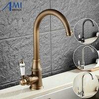 Kitchen Faucet Antique Brushed Porcelain Handle Crystal Mixer Faucet Hot Cold Mixer Basin Tap Luxury Faucet
