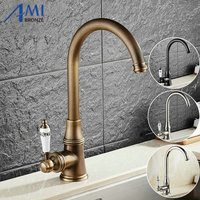 Kitchen Faucet Antique Brushed Porcelain Handle Crystal Mixer Faucet Hot Cold Mixer Basin Tap Luxury Faucet