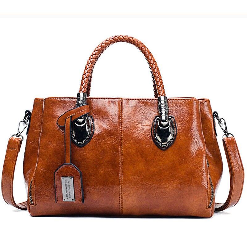 Handbags Crossbody Messenger-Bags Vintage Feminina PU Bolsas Top Oil-Wax Braided Causal