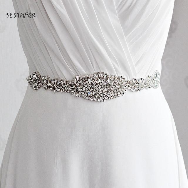 S123 boda Marco de diamantes de imitación elegante cinta de satén cinturones de novia fiesta novia dama de honor vestido cinturón faja Waistban
