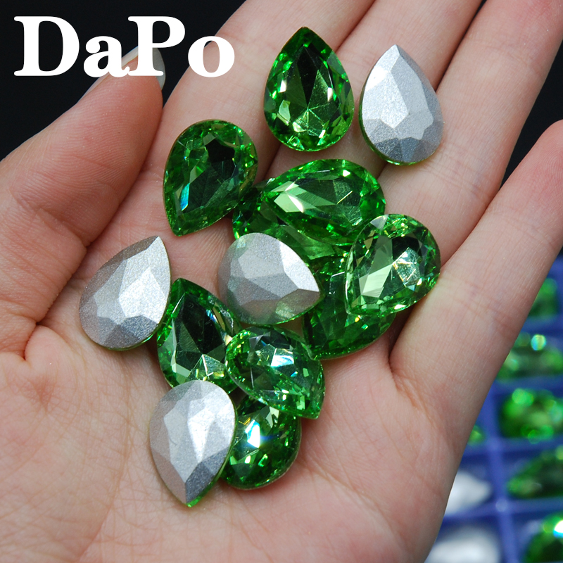 4x6mm~20x30mm Teardrop Shape Point Back Light Green Color Glass Rhinestone  Beads For Jewelry Clothes Bags Decoration-in Rhinestones from Home   Garden  on ... a1c155c615aa