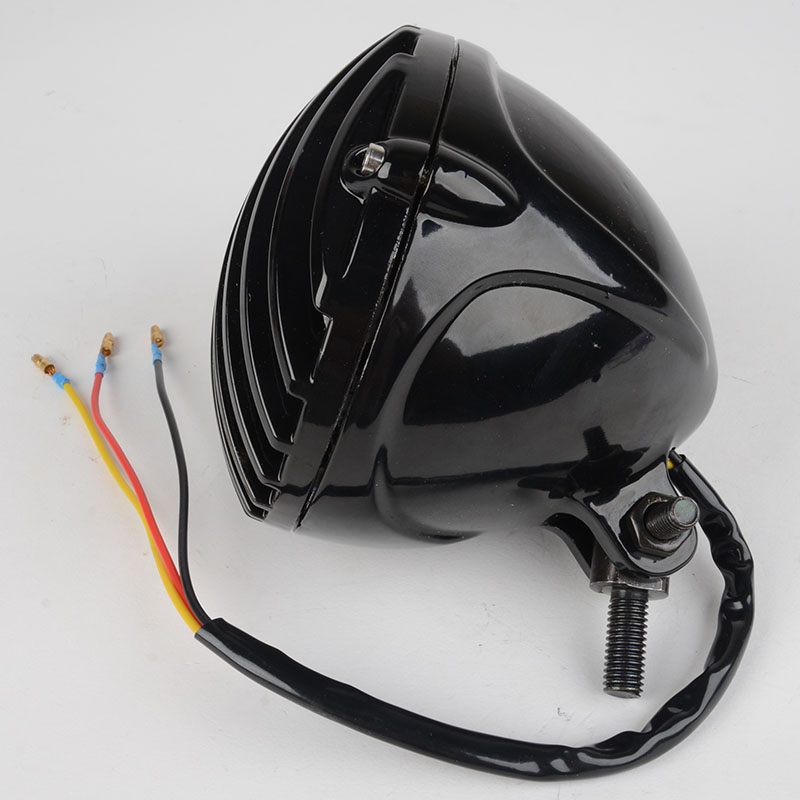 2016 New Black Grill Motorcycle Headlight High Quality Headlamp Blub for Harley Cafe Racer Bobber