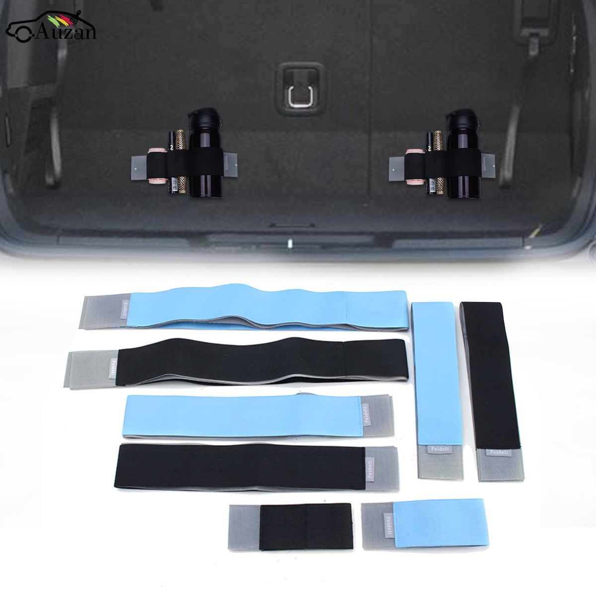 Universal Car Rear Trunk Organizer Elastic Color Strap Sticker Fixed Stowing Tidying Interior For VW/ Audi/BMW/Mazda/Peugeot