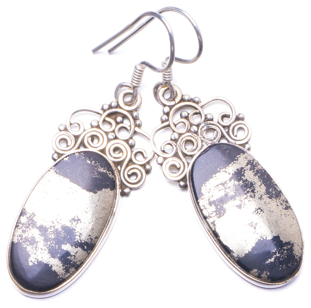 Natural Apache Gold Stone Handmade Unique 925 Sterling Silver Earrings 2 Y1439