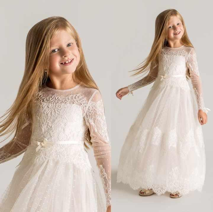 Princess Sheer   Flower     Girls     Dresses   Long Sleeves Custom Made Lace First Communion   Dresses   Appliques Little Kids Birthday Gown