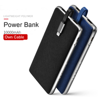 10000mAh Power Bank Quick Charger Case With LED Indicator 2 1A With Own Cable Ultra Thin